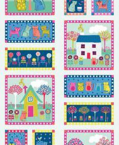 Makower Uk Kitty Patchwork Fabric available at lovestitching.co.uk, UK NI, Northern Ireland, ROI